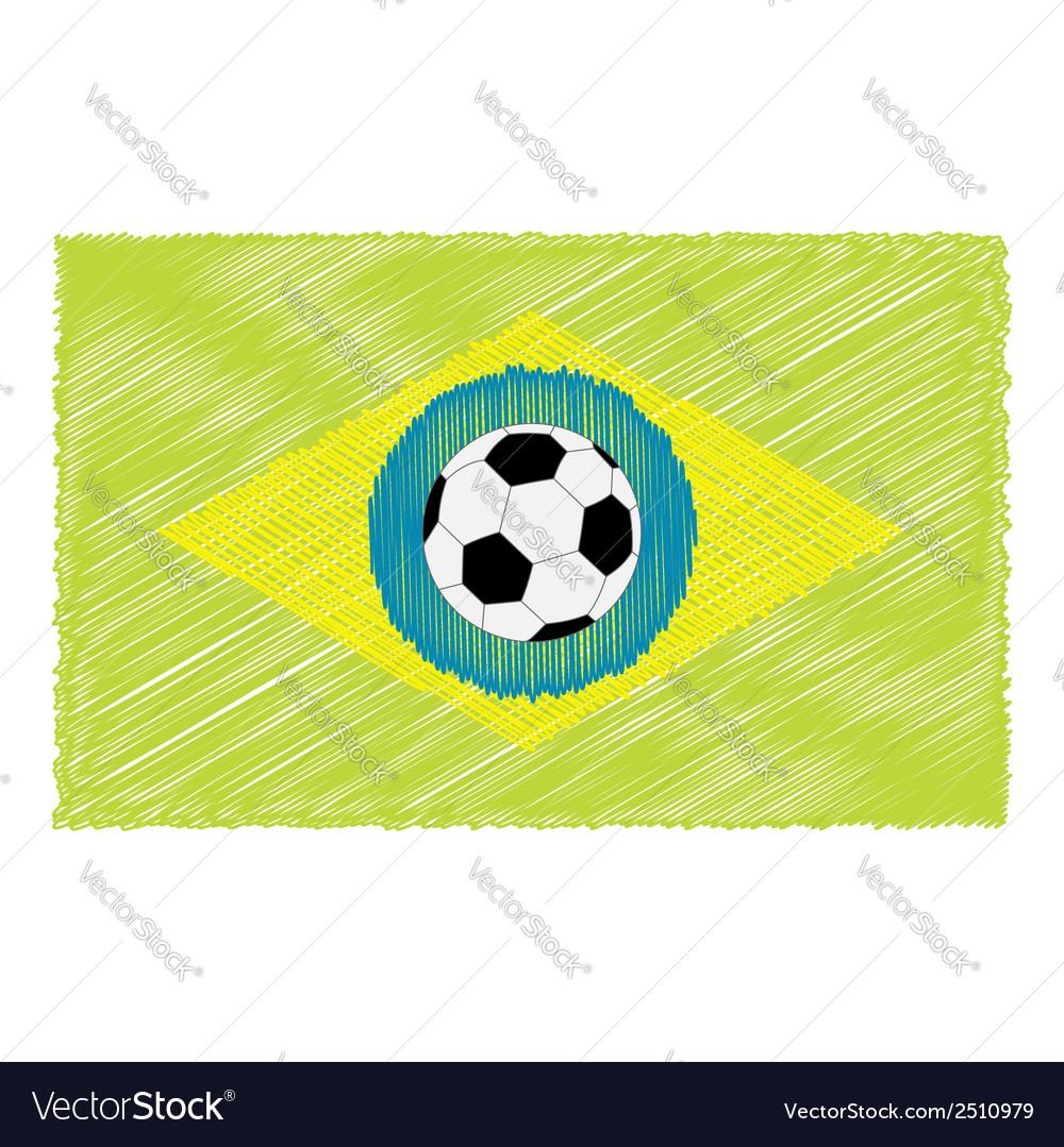 Football soccer ball brazil flag scribble effect vector | Price: 1 Credit (USD $1)