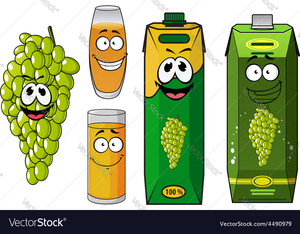Funny natural green grape fruit and juice cartoon vector | Price: 1 Credit (USD $1)