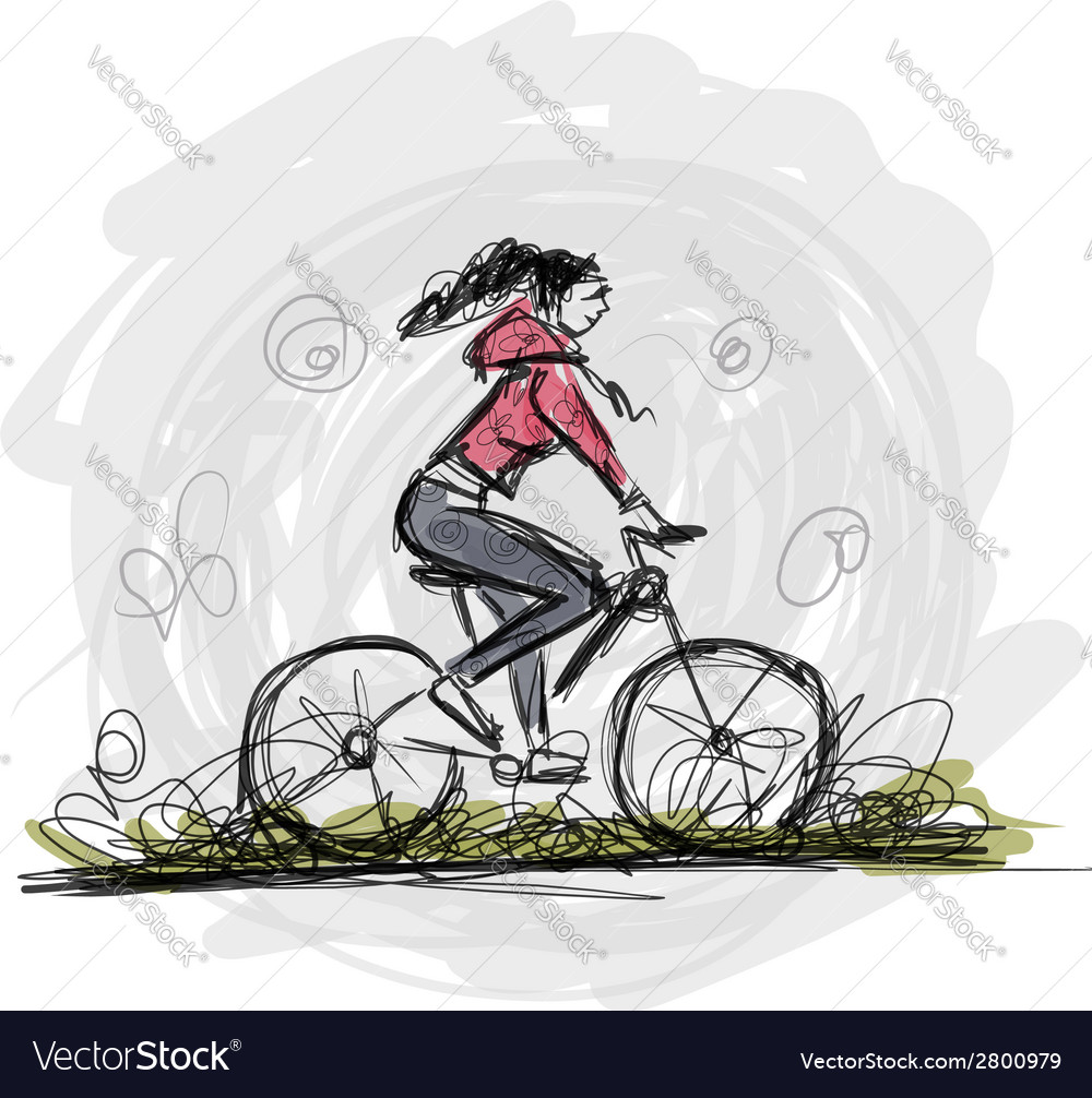 Girl cycling sketch for your design vector | Price: 1 Credit (USD $1)