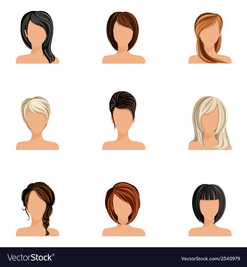 Girl hair style set vector | Price: 3 Credit (USD $3)