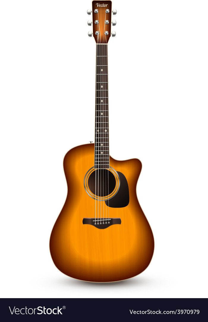 Guitar realistic isolated vector | Price: 1 Credit (USD $1)