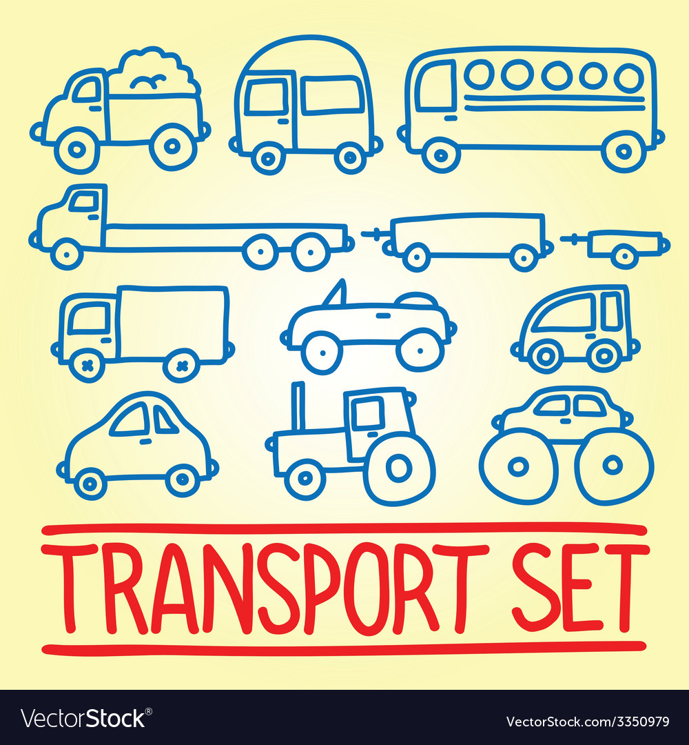 Hand drawn cartoon transport set vector | Price: 1 Credit (USD $1)