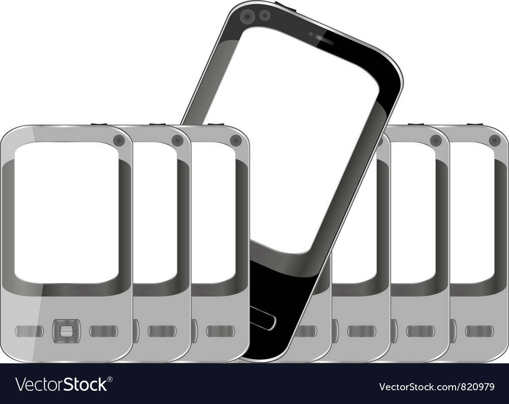 Mobile phones background with empty screen vector | Price: 1 Credit (USD $1)
