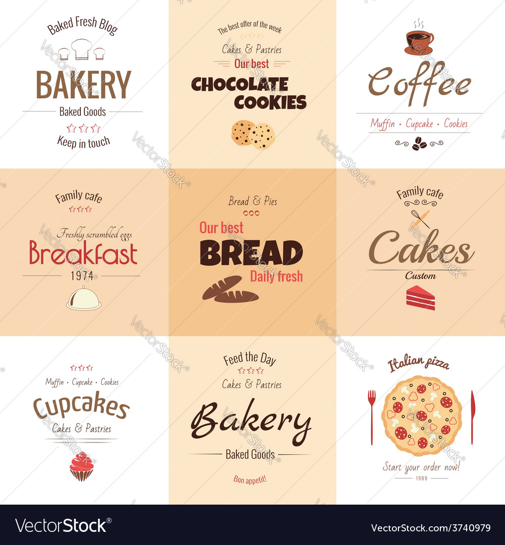 Set of 9 bakery labels vector | Price: 1 Credit (USD $1)