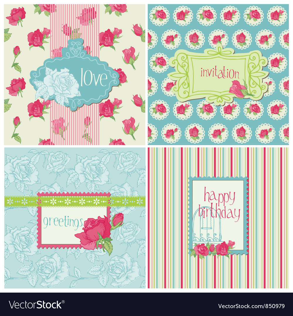 Set of colorful cards with rose elements vector