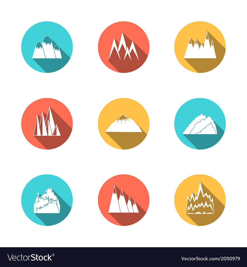 Snowy mountains icons set vector | Price: 1 Credit (USD $1)
