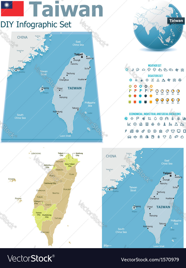 Taiwan maps with markers vector | Price: 1 Credit (USD $1)