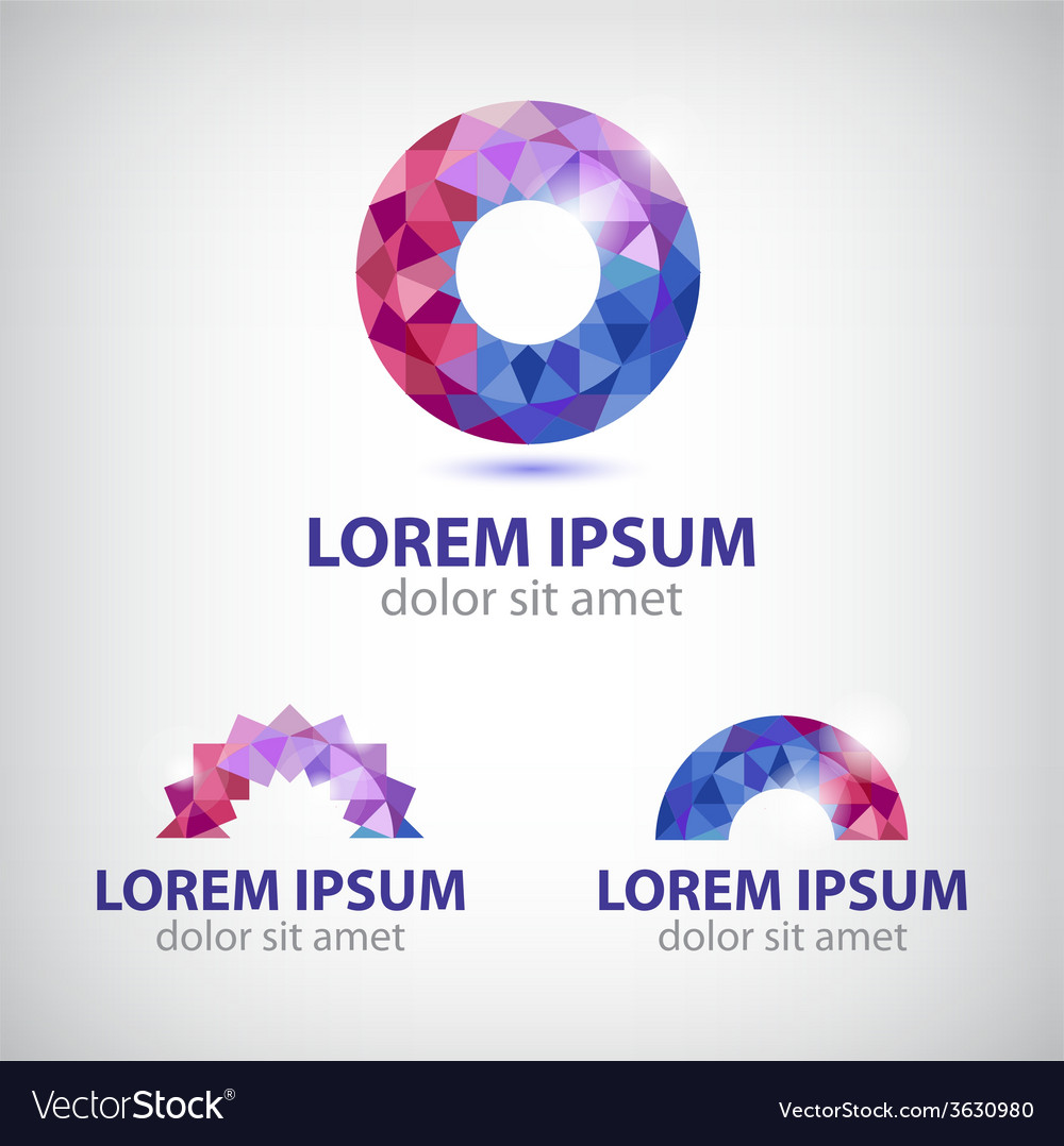 Abstract circle round crystal colorful icon vector