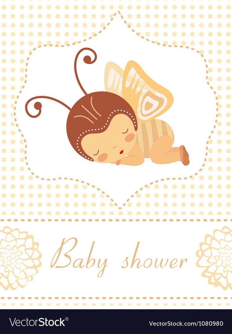Baby shower card with butterfly girl sleeping vector | Price: 1 Credit (USD $1)