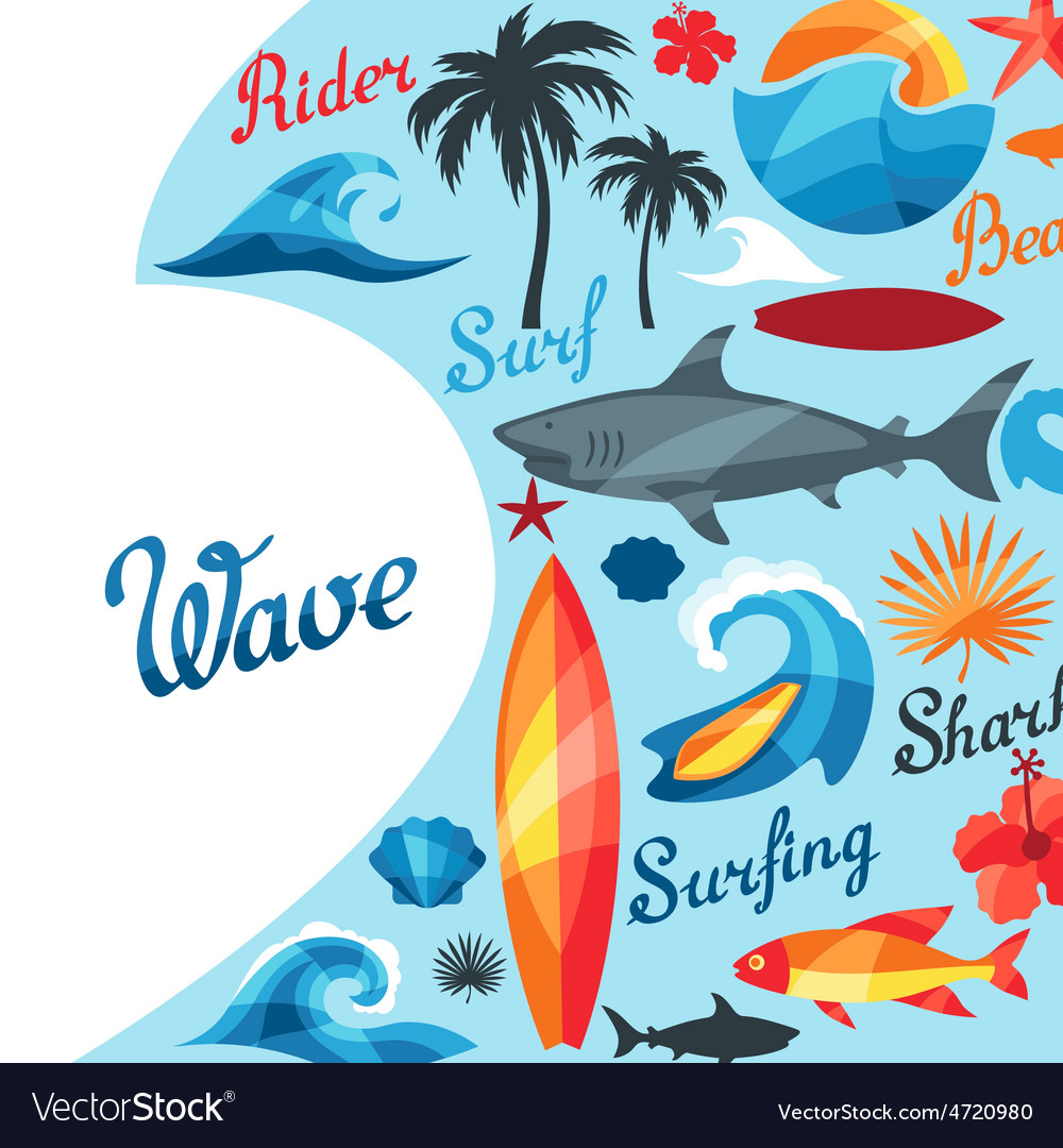 Background with surfing design elements and vector | Price: 1 Credit (USD $1)