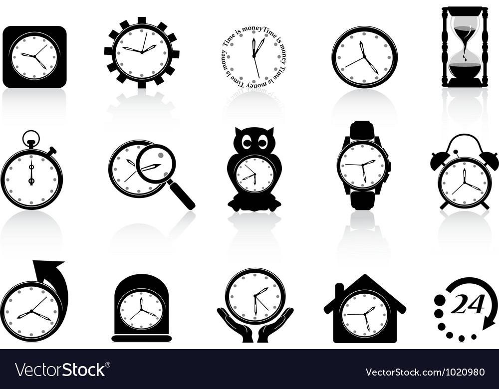 Black clock icon set vector | Price: 1 Credit (USD $1)