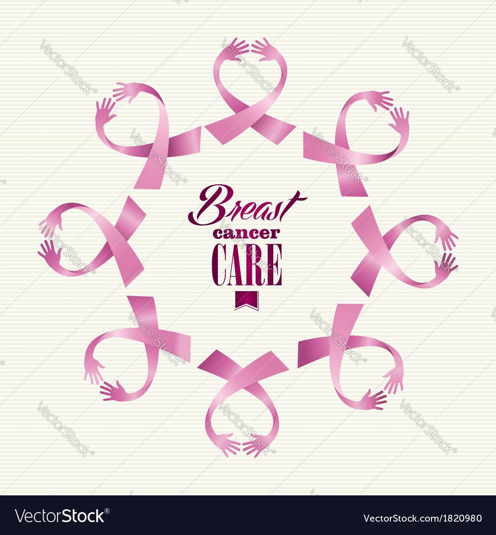 Breast cancer awareness ribbon women hands circle vector | Price: 1 Credit (USD $1)