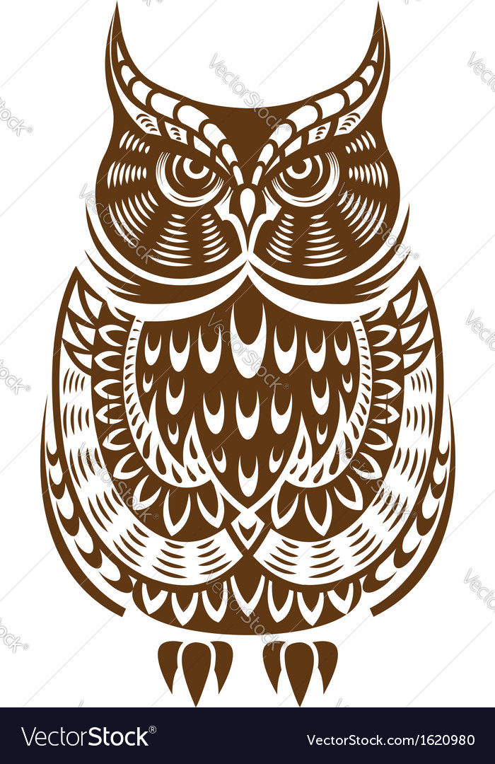 Brown owl with decorative ornament vector | Price: 1 Credit (USD $1)