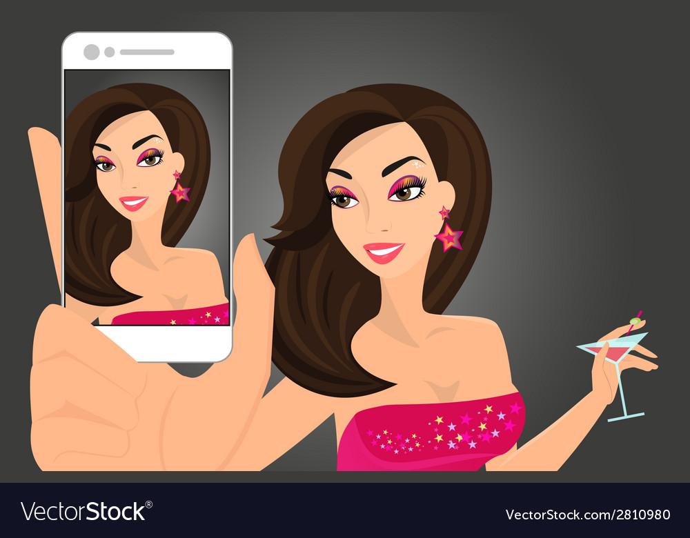 Brunette woman taking selfie in disco club vector   Price: 1 Credit (USD $1)