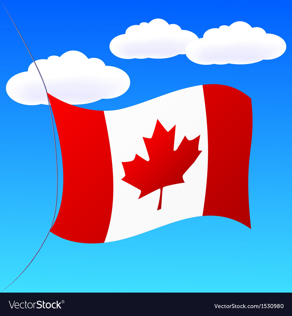 Canada flag on blue sky vector | Price: 1 Credit (USD $1)