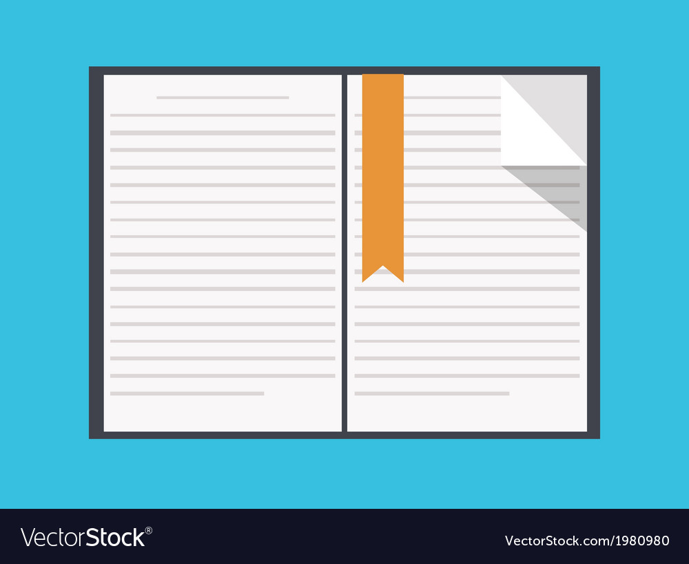 Flat book icon on blue background vector | Price: 1 Credit (USD $1)