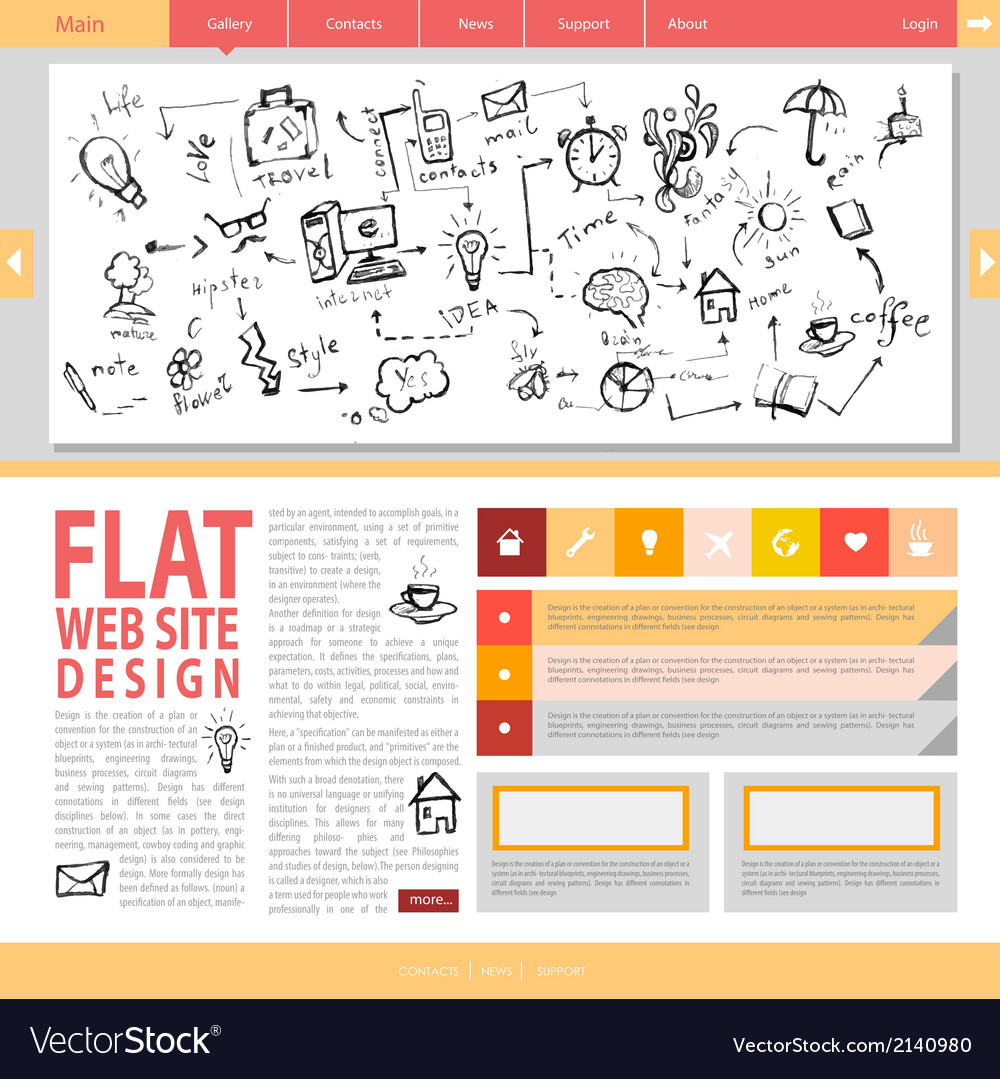 Flat web site design vector | Price: 1 Credit (USD $1)