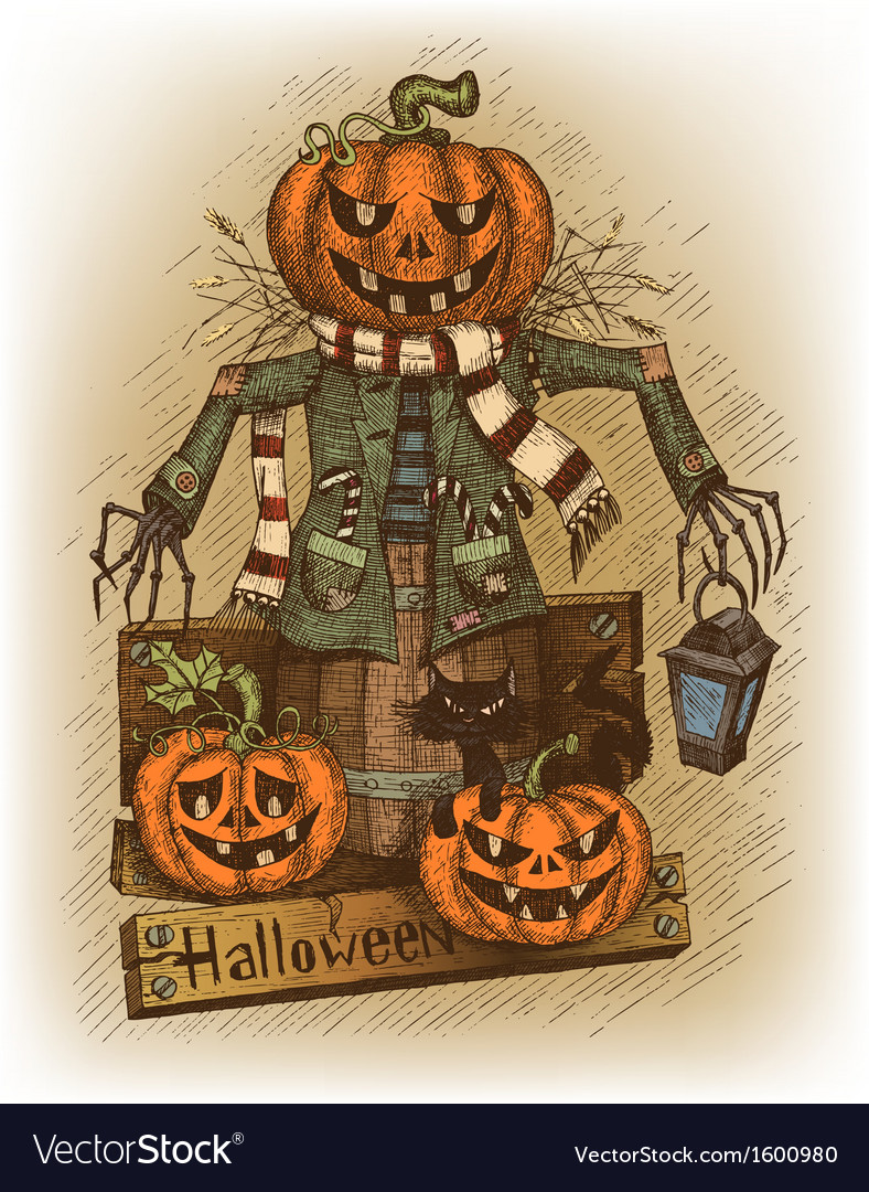 Halloween drawn by hand vector