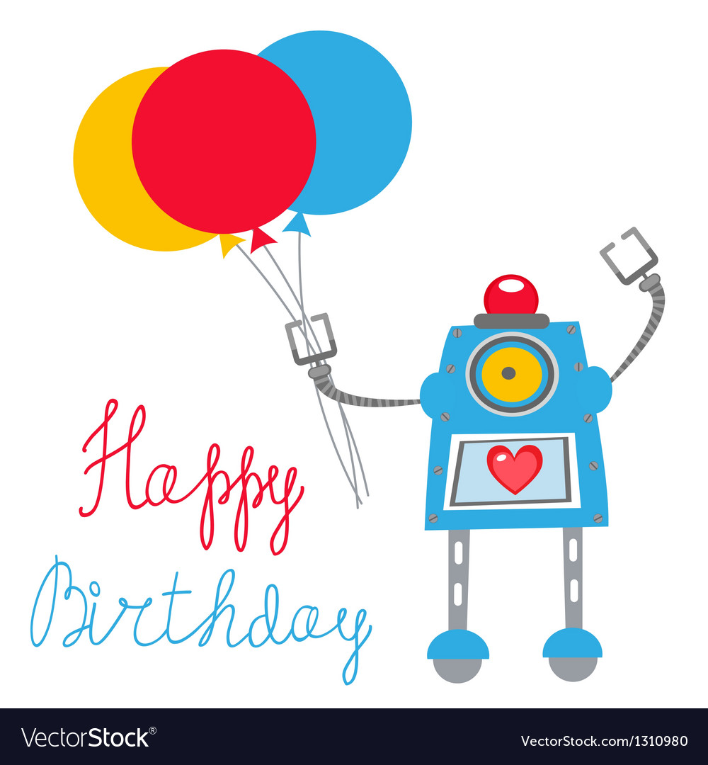 Robot birthday vector | Price: 1 Credit (USD $1)