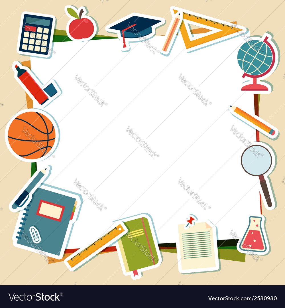 School supplies and tools with place for text vector | Price: 1 Credit (USD $1)