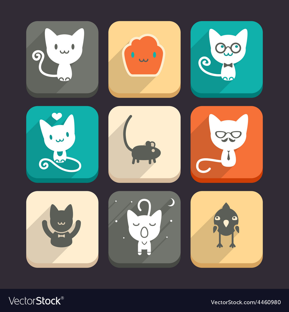 Set of cats and animal icons part 1 vector