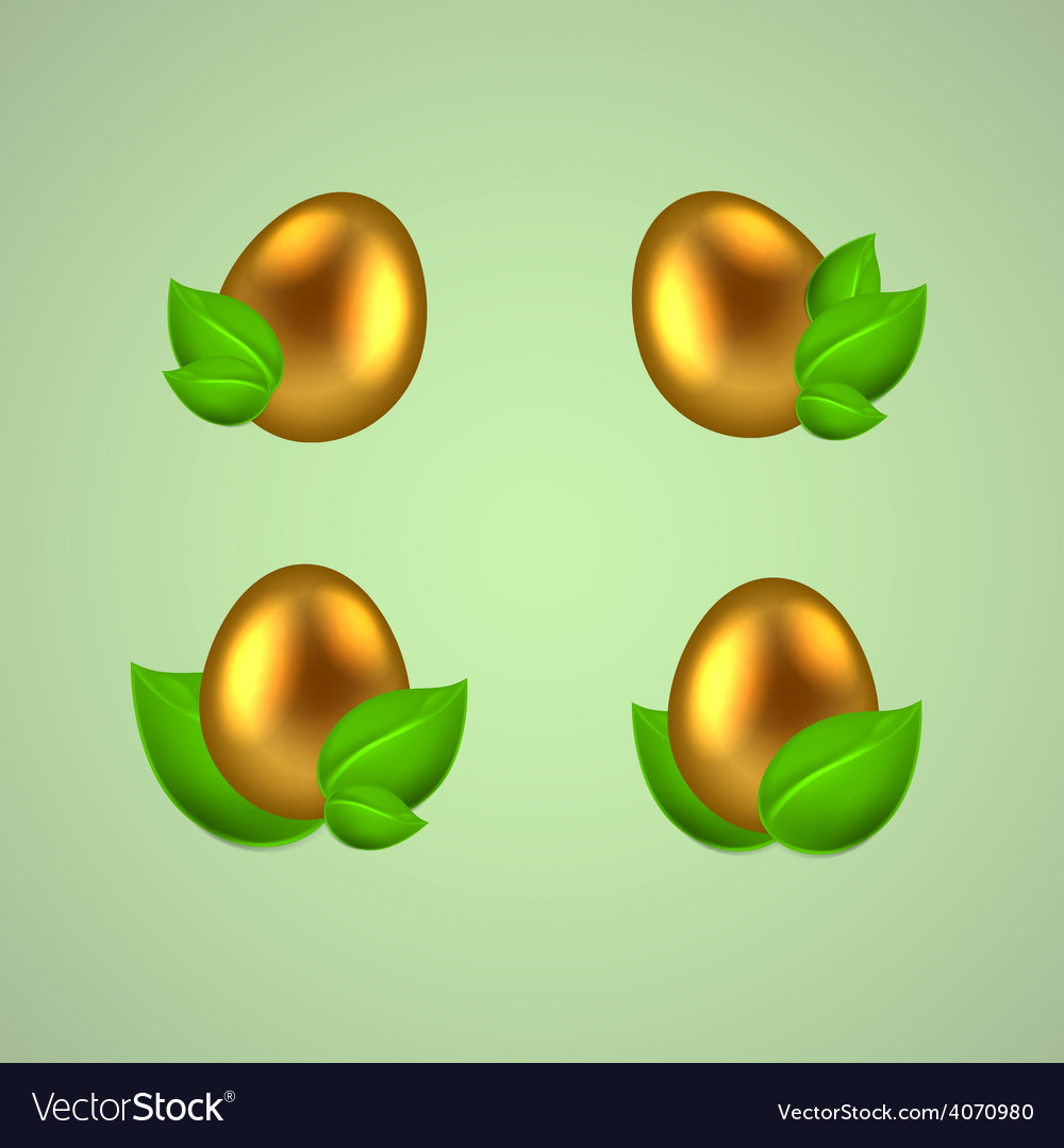 Set of golden eggs in green leaves vector | Price: 1 Credit (USD $1)