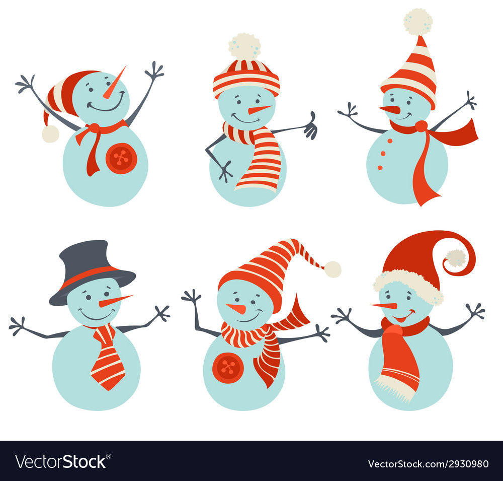 Set of retro snowmen vector | Price: 1 Credit (USD $1)