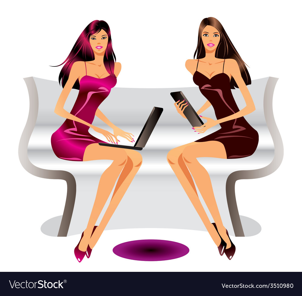 Two fashion models with laptop and tablet vector | Price: 1 Credit (USD $1)