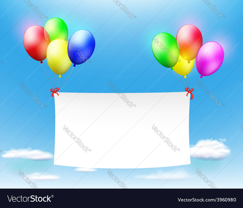 White banner hanging on the colored balls vector | Price: 1 Credit (USD $1)