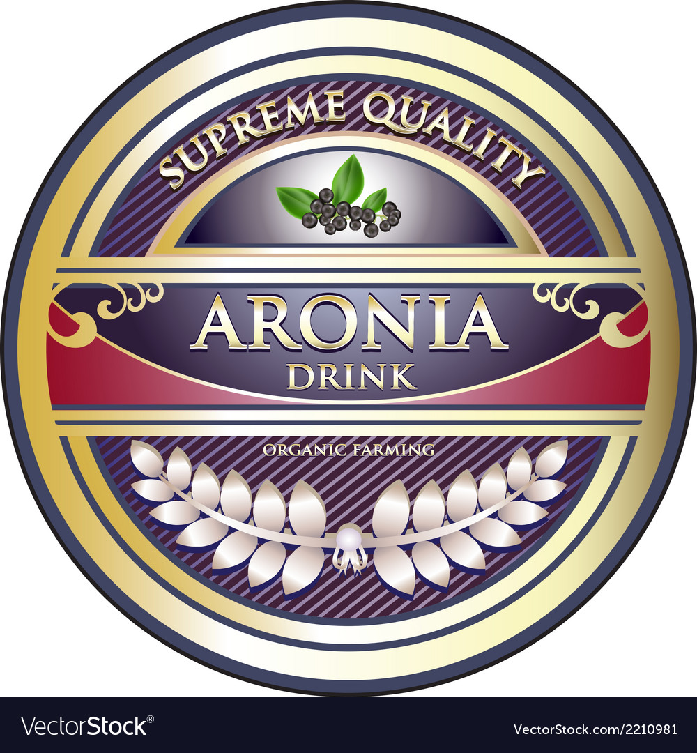 Aronia drink vintage label vector | Price: 1 Credit (USD $1)