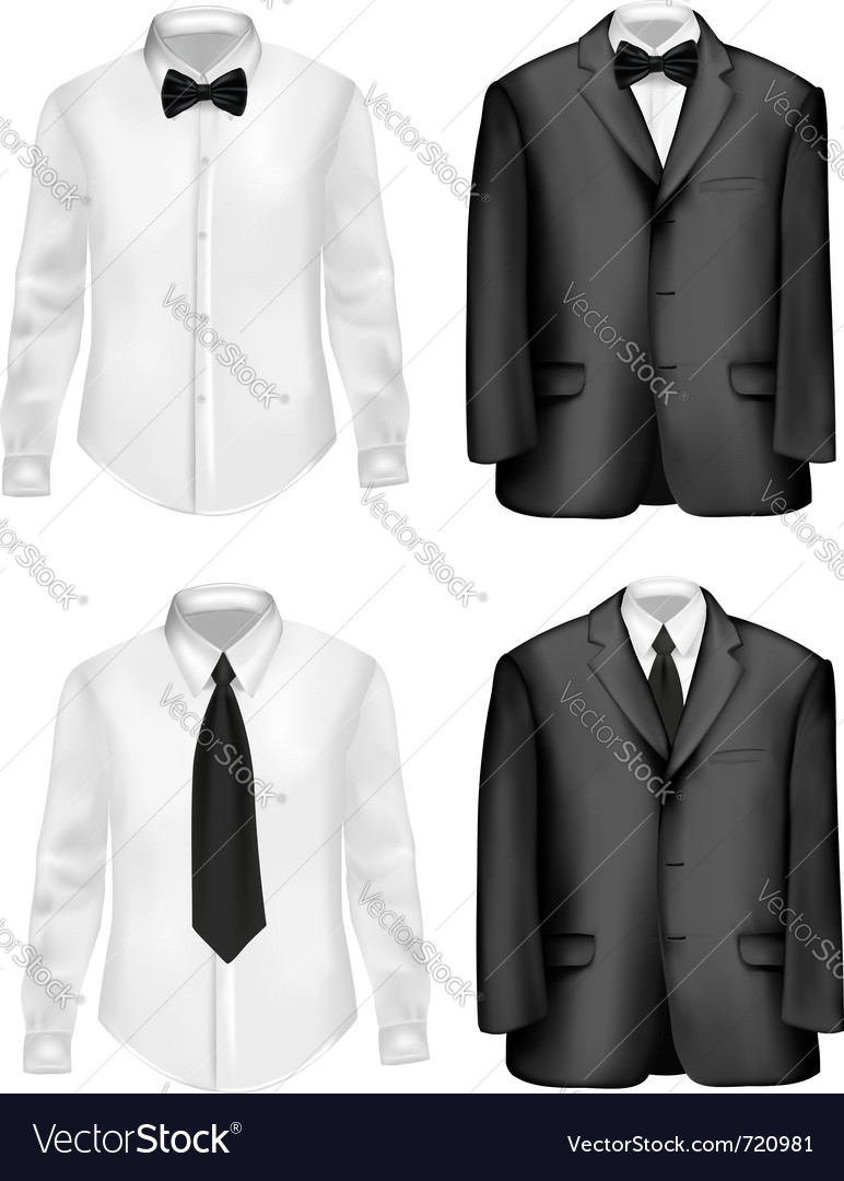 Black suit and white shirts vector | Price: 1 Credit (USD $1)
