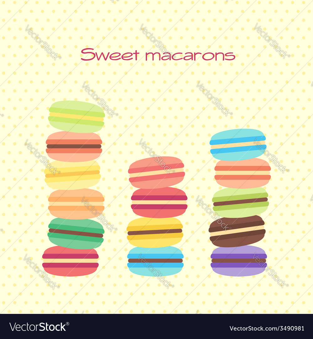 Card with sweet macarons vector   Price: 1 Credit (USD $1)