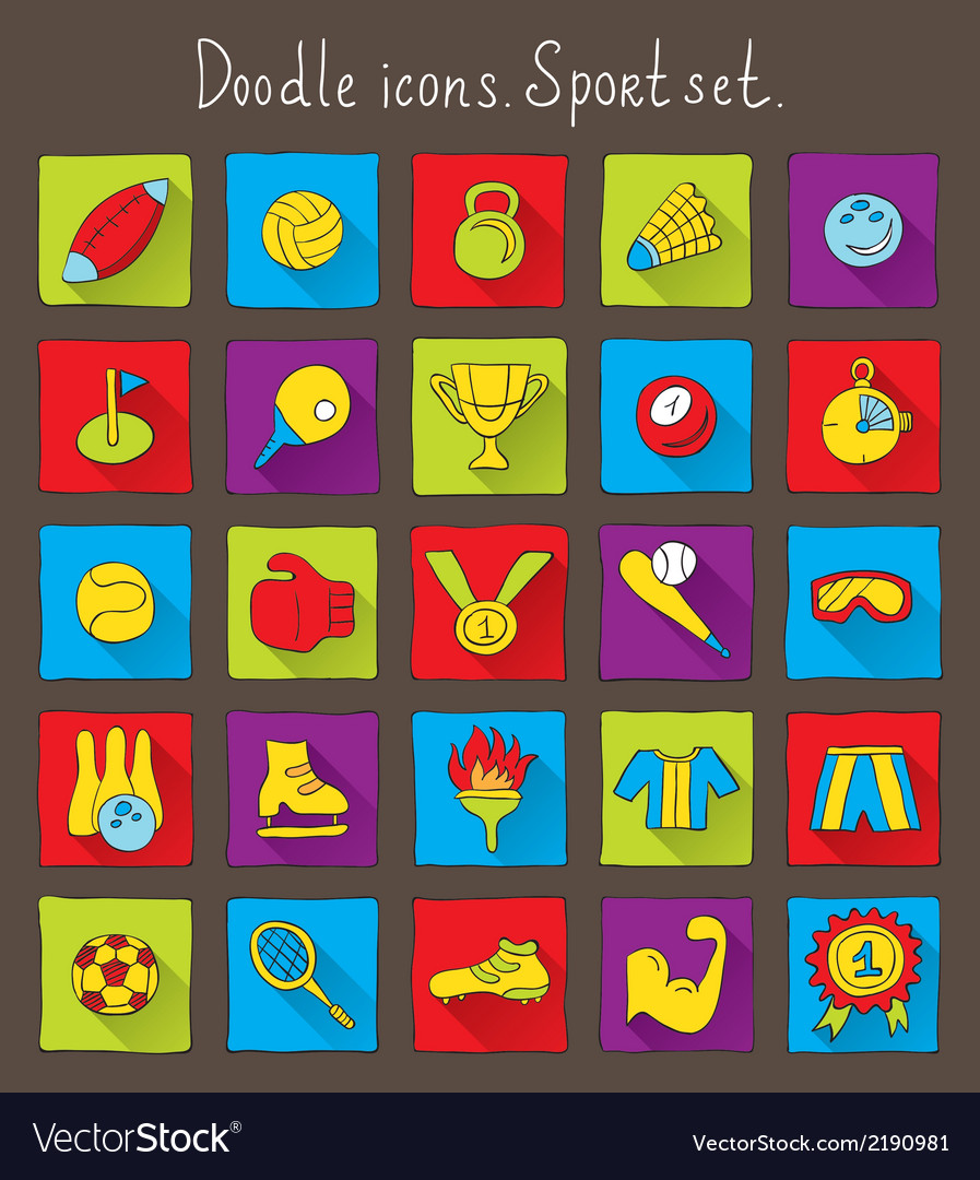 Colored doodle icons vector | Price: 1 Credit (USD $1)