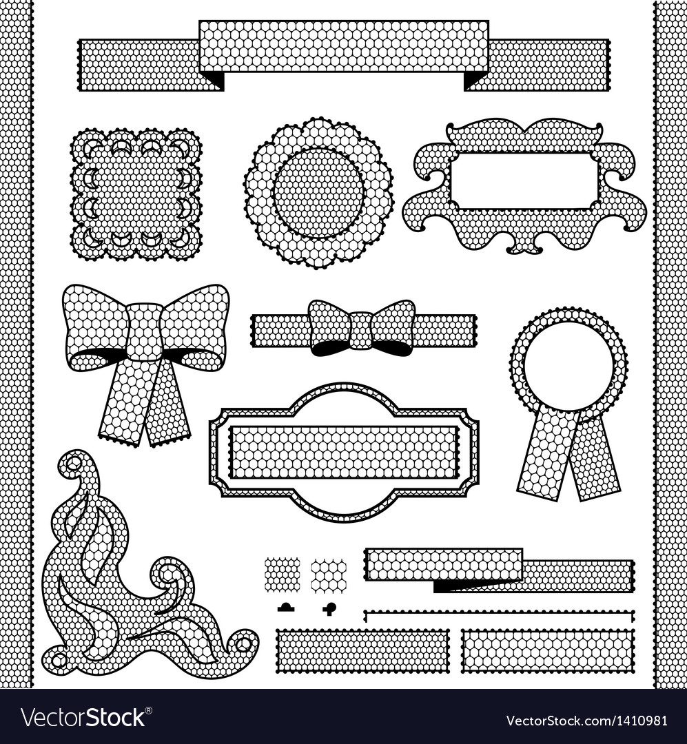 Decorative lace ribbon bows and ornaments vector | Price: 1 Credit (USD $1)