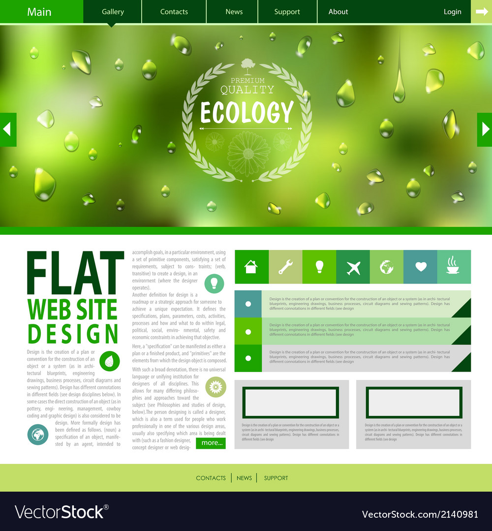 Flat web site design ecology background vector | Price: 1 Credit (USD $1)