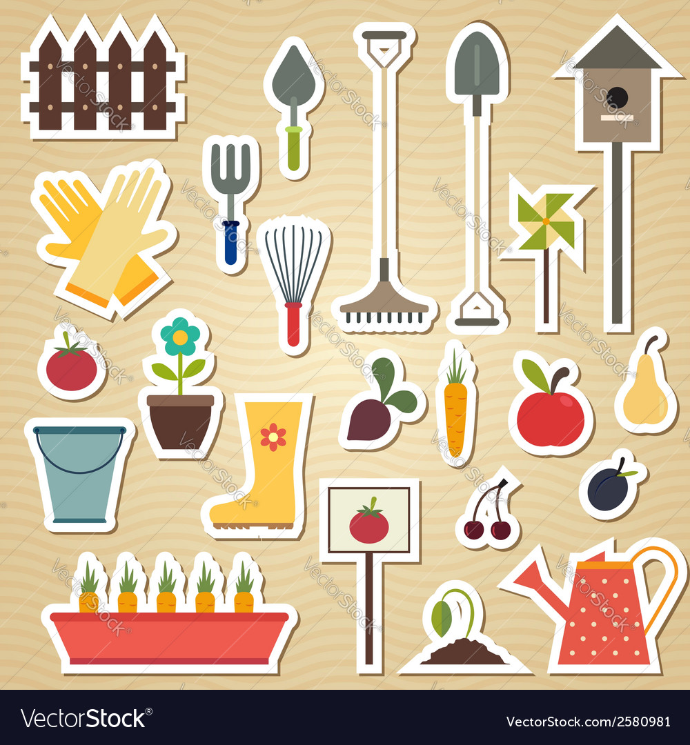 Garden and gardening tools icon set on a light vector | Price: 1 Credit (USD $1)