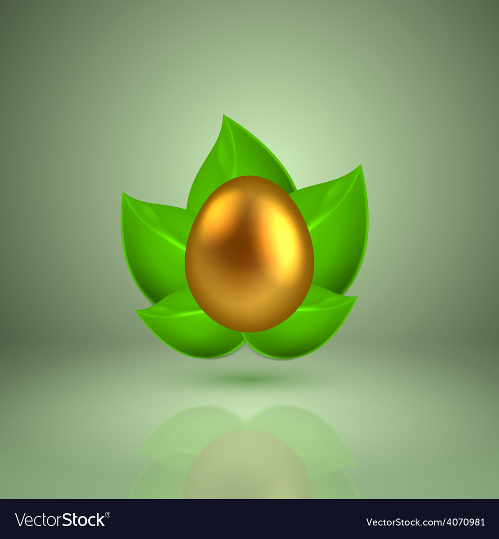 Golden egg in green leaves vector | Price: 1 Credit (USD $1)