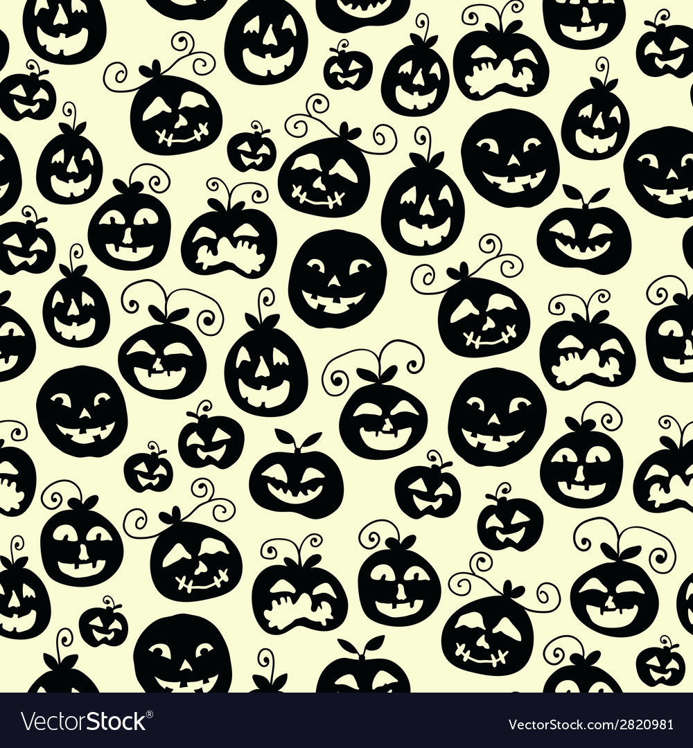 Hand drawn halloween seamless pattern with cartoon vector | Price: 1 Credit (USD $1)