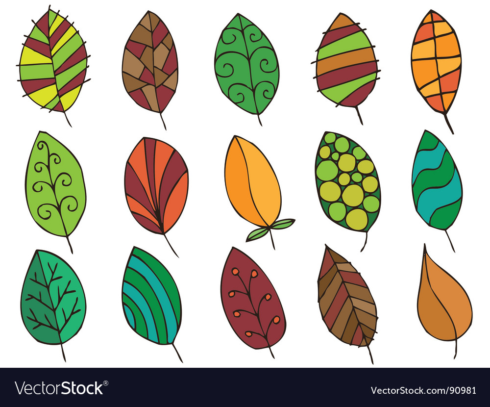Hand drawn leaves vector | Price: 1 Credit (USD $1)