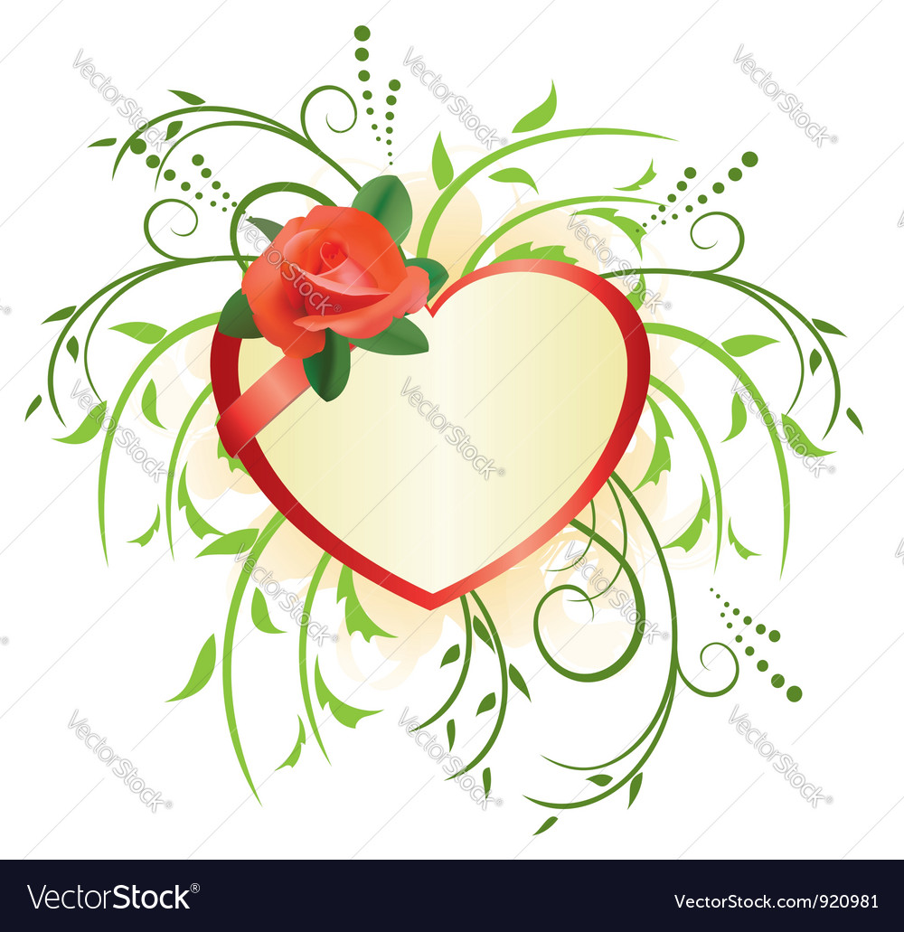 Heart and green plants vector | Price: 1 Credit (USD $1)