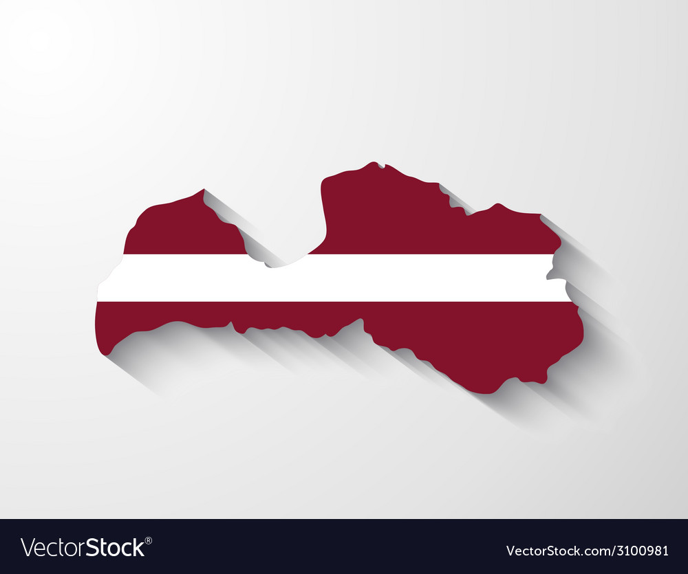 Latvia map with shadow effect vector | Price: 1 Credit (USD $1)