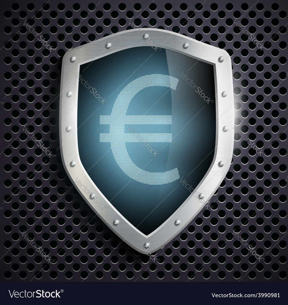 Metal shield with the image of euro vector | Price: 1 Credit (USD $1)