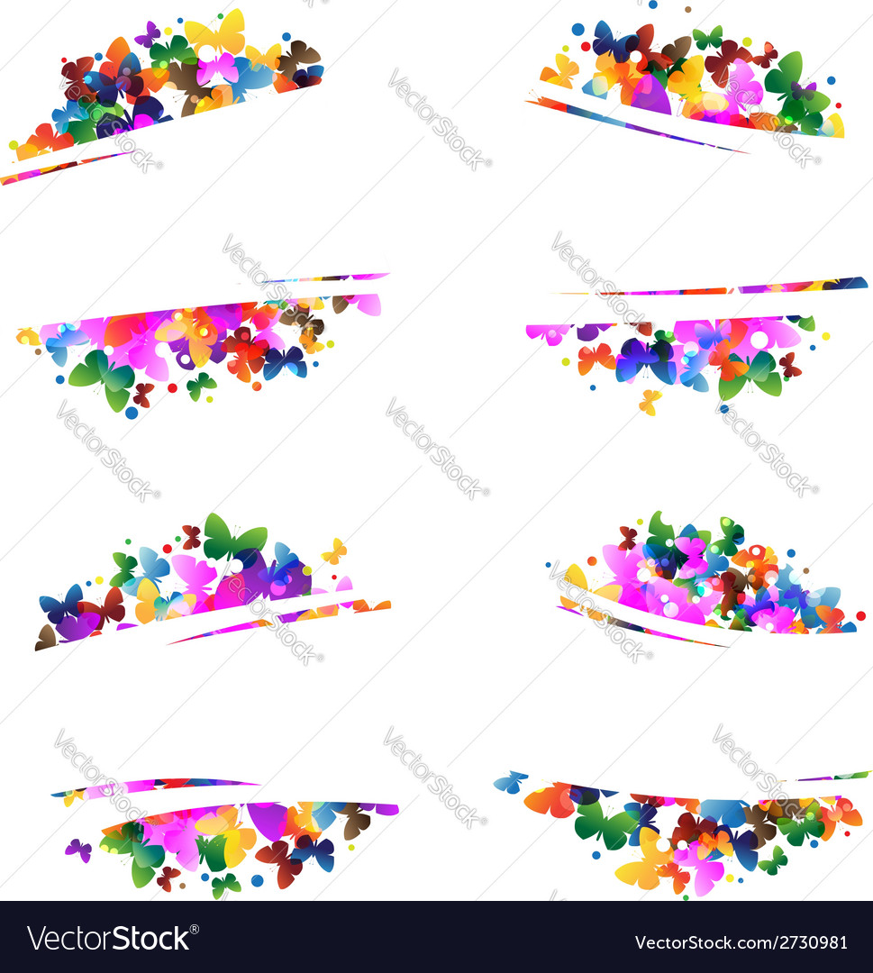Multicolored silhouettes of butterflies vector | Price: 1 Credit (USD $1)
