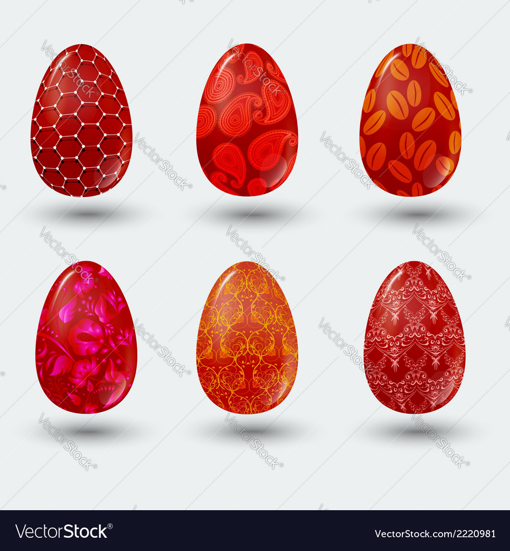 Red patterned easter eggs with shadow on gray vector | Price: 1 Credit (USD $1)