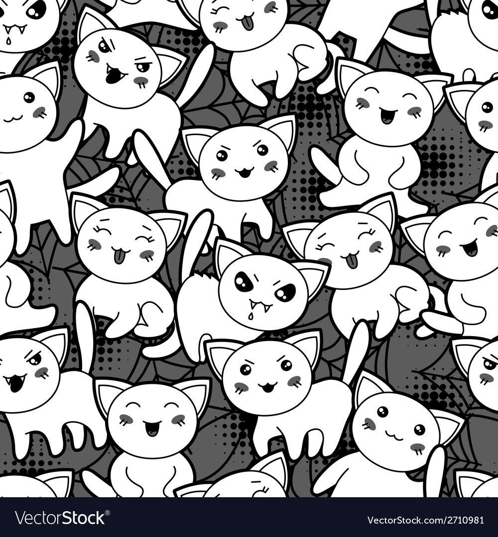 Seamless halloween kawaii cartoon pattern with vector   Price: 1 Credit (USD $1)