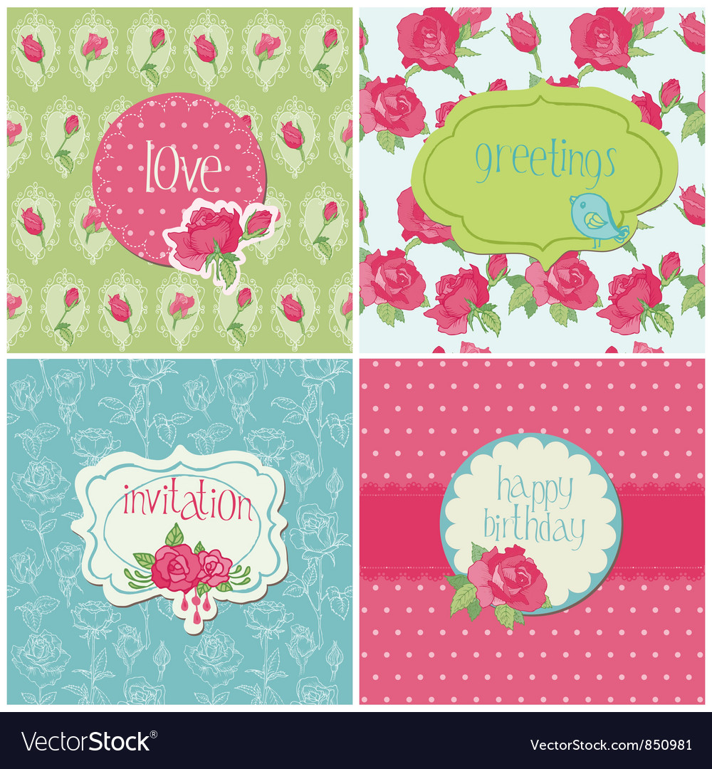 Set of colorful cards with rose elements vector | Price: 1 Credit (USD $1)