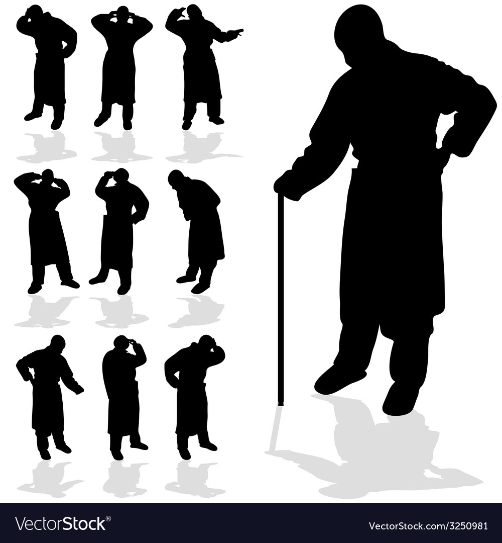 Sick man black silhouette vector | Price: 1 Credit (USD $1)