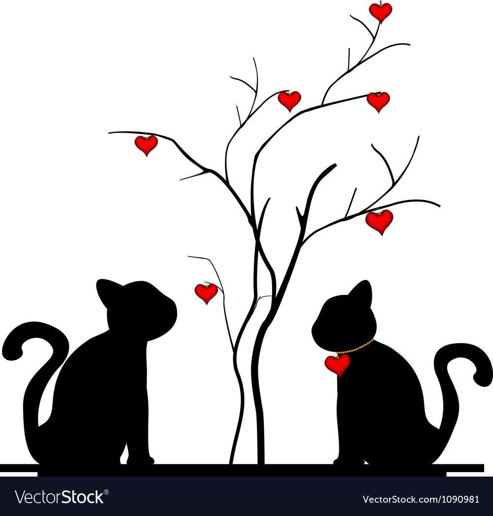 Silhouette of cat and a love tree vector | Price: 1 Credit (USD $1)