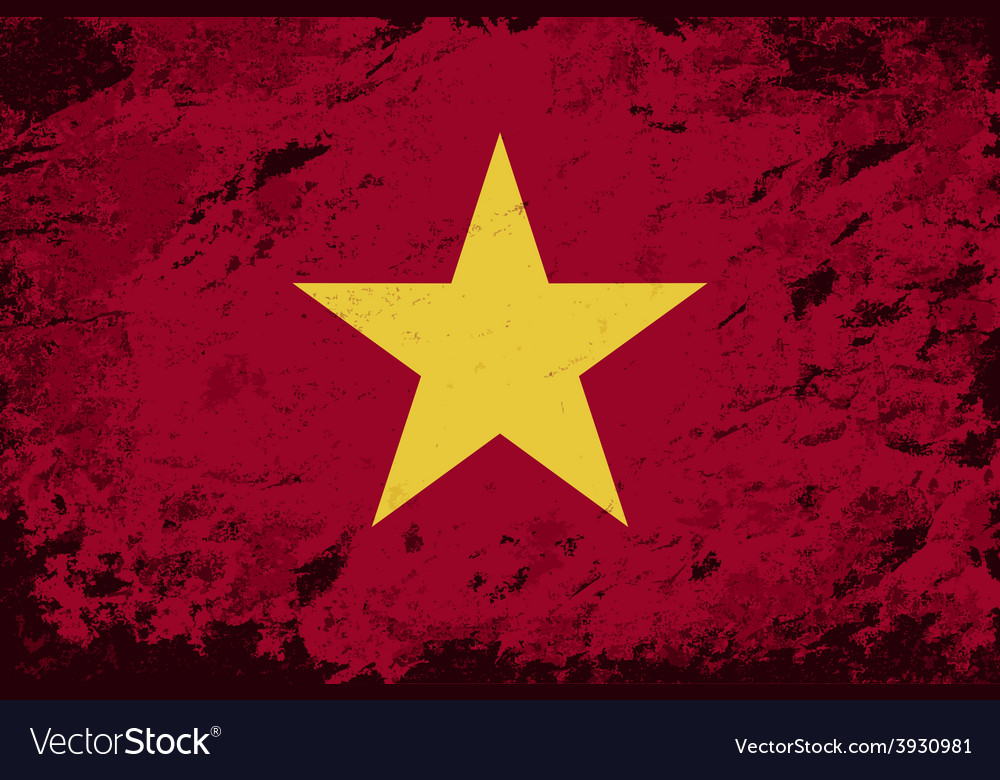 Vietnamese flag grunge background vector | Price: 1 Credit (USD $1)