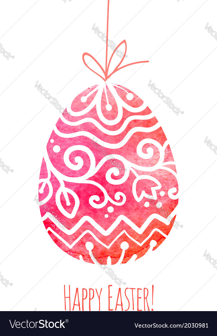 Watercolor painted ornate easter egg vector | Price: 1 Credit (USD $1)